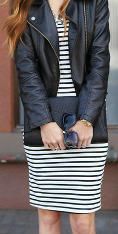 Leather Jacket + Striped Bodycon