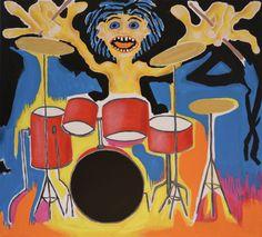 Drummer, acrylic, oil sticks, crayon, canvas, 73cm x 81cm Music Painting, Online Painting, Artwork Online, Dark Paintings, Original Paintings, Dancer In The Dark, Autumn Painting, Original Art For Sale, Canvas Art