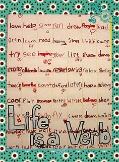 Fabulous Idea - Have students brainstorm verbs and chose best to create a poster (all verbs about same subject)