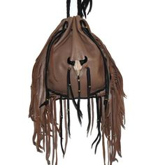 Drawstring leather bag resin skull medicine pouch boho hippie mountain woman pow wow cross body by LeatherBagLady on Etsy