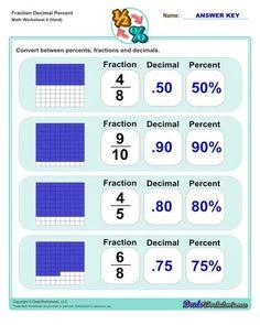 Fraction Decimal Percent Worksheets