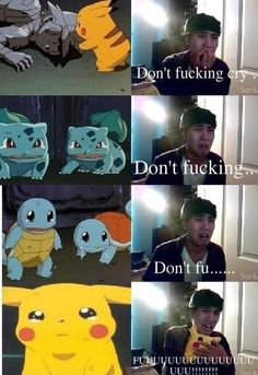 Probably one of the only moments in all of the Pokemon anime when the characters show emotion