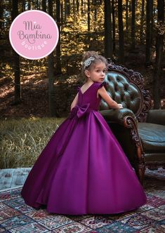 Bridesfamily Sweet Satin Scoop Neckline Cap Sleeves Floor-length Ball Gown Flower Girl Dresses With Belt & Bowknot Girls Pageant Dresses, Gowns For Girls, Girls Party Dress, Birthday Dresses, Little Girl Dresses, Ball Dresses, Baby Dress, Bridal Dresses, Ball Gowns