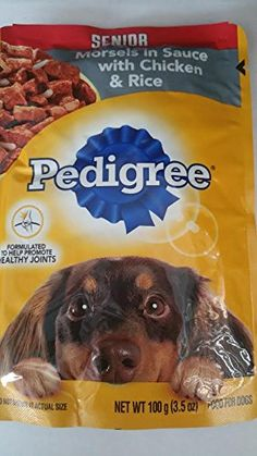 4- Pedigree SENIOR Morsels in Sauce with Chicken and Rice Formulated to Help Promote Healthy Joints (3.5 oz Each) ** Click image for more details. (This is an affiliate link and I receive a commission for the sales) #Dogs