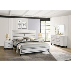 5 Piece Bedroom Set, Bedroom Sets, Bedding Sets, Mirrored Nightstand, Dresser With Mirror, King Beds, Queen Beds, Queen Headboard, Panel Bed