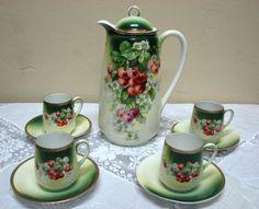 Antique Three Crown Germany Chocolate Pot Cherry Motif '55' Set of 10