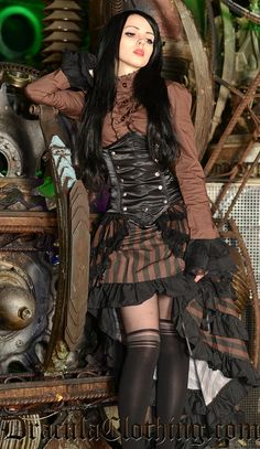 """draculaclothing: """"Steampunk Layer Bustle Skirt was one of our bestsellers last year. Soon we are getting it back, but you can pre-order now to make sure you'll get. Chat Steampunk, Cosplay Steampunk, Style Steampunk, Steampunk Couture, Gothic Steampunk, Steampunk Clothing, Gothic Clothing, Gothic Jewelry, Renaissance Clothing"""