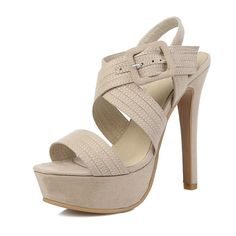 2016 summer Women Shoes Hasp Solid color Thin heel platforms Cross straps Nubuck leather Open-toed sandals big size 30-48 T1249