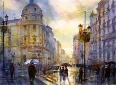 Puerta Real-Granada. Geoffrey Wynne Acuarelas - Watercolours