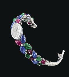 very rare and exceptionally made Rare Gemstones, Minerals And Gemstones, Tutti Frutti, Cartier Bracelet, Bracelet Watch, Quartz Jewelry, Gemstone Jewelry, Art Deco Watch, High Jewelry