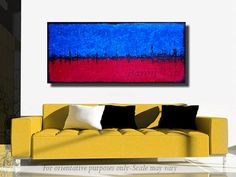 Abstract painting Textured impasto large panoramic by baronvisi, £175.00