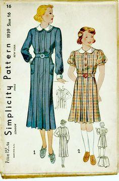 1930 scuola uniforme modello - semplicità 1939 - Vintage Sewing Patterns - UNCUT, fabbrica-piegato di ShellMakeYouFlip su Etsy https://www.etsy.com/it/listing/169400024/1930-scuola-uniforme-modello-semplicita