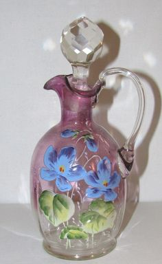 Victorian Art Glass Vinegar Oil Cruet Enameled Violets Faceted Stopper  #Victorian