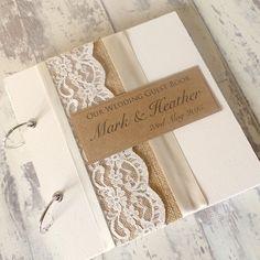 Burlap Rustic Wedding Guest Book Handmade by ThePaperBirdCompany