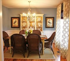 Santorini blue by Benjamin Moore. Emily A. Clark: A Client's Bachelor Pad Overhaul: The Dining Room Clarks, Bachelor, Favorite Paint Colors, Dining Room Inspiration, Color Inspiration, Furniture Inspiration, Furniture Ideas, Dining Room Walls, Room Colors