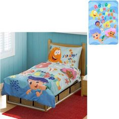 Bonus Blanket With Nickelodeon Bubble Guppies 4pc Toddler Bedding Set,  Multicolor