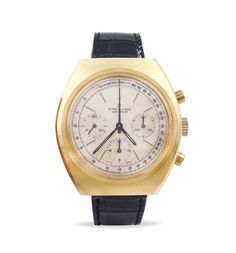 Breitling Long playing, wristwatch 1975 gilt metal chronograph, tonneau case mm. 42x45, champagne t