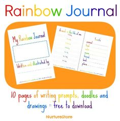 rainbow theme free printable journal pages for kids