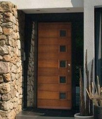 Moderne deur, merbau kleur Mid century modern doors don't have to be just in the United States. Modern Entry Door, Entry Doors, Garage Doors, Mid Century Modern Door, 3 Doors Down, Painted Doors, Mid-century Modern, Landscape, Interior