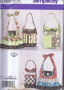 Five Hand Bags Decorative Ruffle Tailored Pouch 2169 Sewing Pattern 1 Size Uncut | eBay