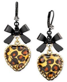 Betsey Johnson Leopard Heart Bow Drop Earrings | macys.com