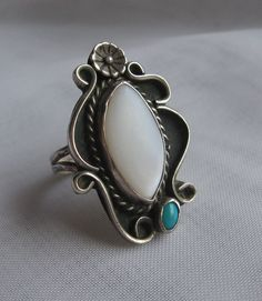 Old Pawn Navajo Sterling Silver MOP Turquoise Ring signed JHJ sz 7.5