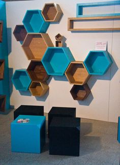shelving by Bloq - shelves for craft room. probably different colors though Shelf Design, Wall Design, Wall Shelves, Shelving, Diy Furniture, Furniture Design, Hexagon Shelves, Honeycomb Shelves, Deco Originale