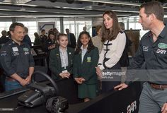 Catherine, Duchess of Cambridge, patron of the 1851 Trust, joins local school students as she tours the new 'Tech Deck' Education Centre during her visit to the Land Rover BAR team, who are challenging for the 2017 America's Cup, on May 20, 2016 in Portsmouth, England. The Duchess of Cambridge is launching the 1851 Trust's two sailing projects and meeting people involved in the project. Afterwards she will open the 'Tech Deck' Education Centre at the heart of the base. (Photo by Arthur…
