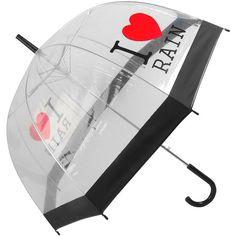 'I love rain' umbrella ($13) ❤ liked on Polyvore featuring accessories, umbrellas, backgrounds, fillers, other, clothing accessories, patterned umbrellas, print umbrella, dorothy perkins and clear umbrella