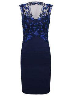 Alexon Embroidered Top Dress in Blue ( dark blue)