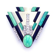 Raymond Templier turquoise, platinum, diamond and onyx brooch.