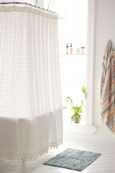 Shop Plum & Bow Pompom Dot Shower Curtain at Urban Outfitters today. We carry all the latest styles, colors and brands for you to choose from right here. Cheap Home Decor Stores, Inexpensive Home Decor, Farmhouse Shower Curtain, Bathroom Shower Curtains, Best Shower Curtains, Bath Shower, Plywood Furniture, Modern Furniture, Furniture Design