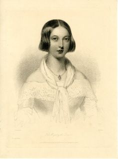 Portrait of the Queen after W.Drummond; looking foward, half-length in a vignette, wearing a heart pendant, her hair looped at sides; lettered state. 1842
