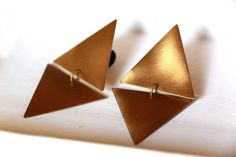Unique Geometric Brass Dangling Triangle by deLangedesigns on Etsy