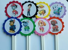 Paw Patrol cupcake toppers set of 12 cake toppers by JCPaperPlace