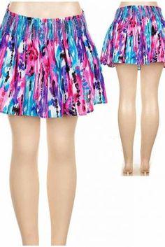 Abstract Print Mini Skirt