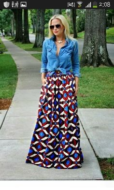 Style Inspiration: Maxi Skirts and Dresses - I have some tribal fabric in a simi., [Style Inspiration: Maxi Skirts and Dresses - I have some tribal fabric in a simi. Style Inspiration: Maxi Skirts and Dresses - I have some tribal f. Maxi Skirt Style, Maxi Skirt Outfits, Modest Outfits, Modest Fashion, Skirt Fashion, Dress Skirt, Maxi Skirts, Denim Skirts, Maxi Dresses
