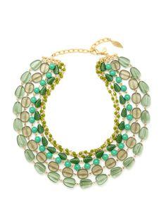 Gold & Glass Bead Multi Row Necklace by David Aubrey on Gilt.com