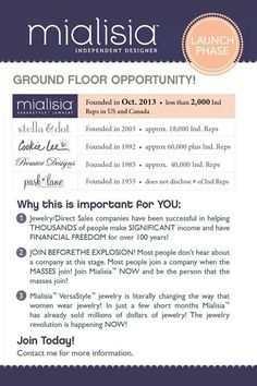 Get in on the ground floor. We are in EARLY LAUNCH PHASE!! No once can duplicate our patented hooks! Mialisia is CHANGING the way that women wear jewelry! In the 7 months since we launched, we have already sold over 3 MILLION dollars in Jewelry. A year from NOW, YOU WILL Wish you had started today! http://lifetimewarranty.mialisia.com (315) 200-9901