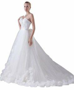 GEORGE BRIDE Princess Organza Strapless Full-Flowers with Sash Wedding Dress