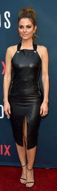 9d1b3408142 Maria Menounos: Dress – Rebecca Vallance Shoes – Stuart Weitzman Maria  Menounos, Black Leather