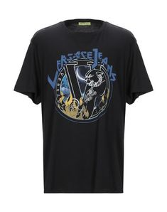 Versace Jeans Men T-Shirt on YOOX. The best online selection of T-Shirts Versace Jeans. Versace Jeans T Shirt, Round Collar, Sportswear, Short Sleeves, Mens Tops, Shopping, Clothes, Logo, Black