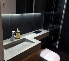 Bathroom sink made for polished concrete.