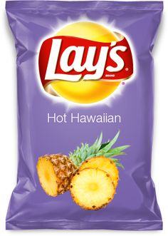 Hot Hawaiian lays potato chips - jalapeño and pineapple flavored! Yummy!