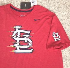 """New$32 Nike ST LOUIS CARDINALS """"DIGITAL NOISE"""" T-SHIRT Red&White/Neon-Yellow XL #Nike #StLouisCardinals"""