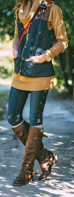 NATURAL - Navy Blue Puffer Vest, Cowl Neck Tunic with Riding Boots by Sequins and Things