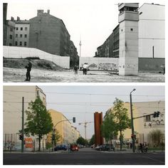 "Bernauer Strasse - ""then & now"" (before and after the Wall went down, in 1989)"