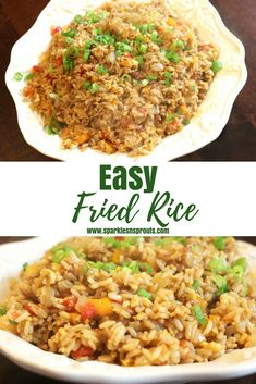 Quick and Easy Fried Rice is perfect for dinner tonight.  Add in whatever veggies or protein you like to make it perfect for you and your family . #friedrice #rice #veggies #side #recipe #sparklesnsprouts