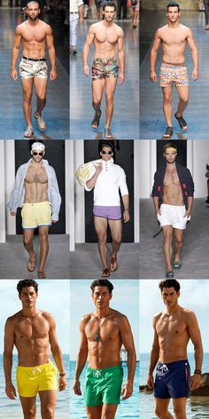 Short Swim Shorts At D and Michael Bastian SS13 and In H's Beachwear 2013 Campaign