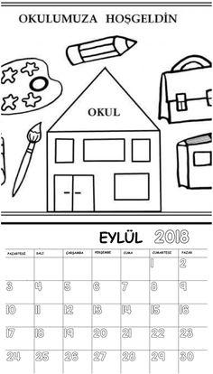 Okul Öncesi 2018 Boyama Sayfalı Takvimi Preschool Painting, Student Council, Preschool Activities, Coloring Pages, Kindergarten, Crafts For Kids, Diagram, Classroom, Cape Clothing